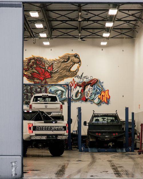 Canadian beaver painted on the wall of diesel repair shop