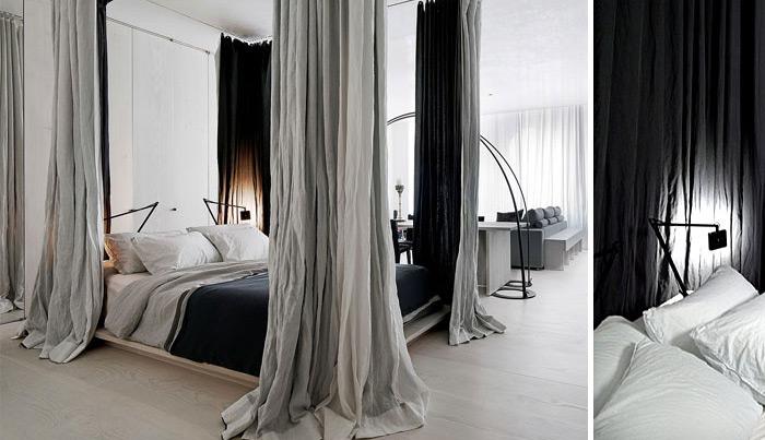 tách biệt phòng ngủ chỉ bằng một bức rèm