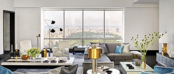 một thiết kế nội thất phòng khách tại Manhattan