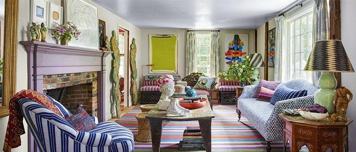 phong cách nội thất vui tươi, đầy màu sắc