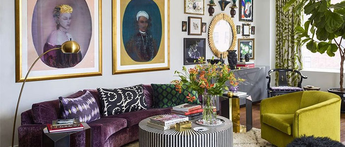 một căn phòng khách đầy màu sắc thế kỷ 20