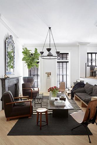 nội thất phòng khách thành thị New York