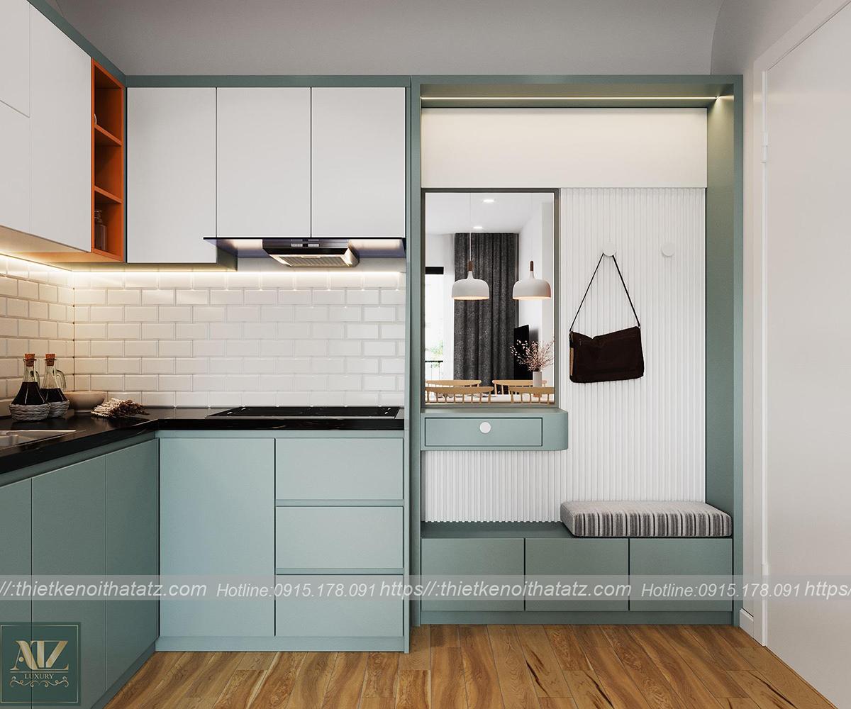 mẫu thiết kế nội thất phòng khách bếp nhà chị Thư