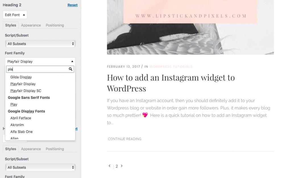 add custom fonts wordpress google fonts lipstick and pixels