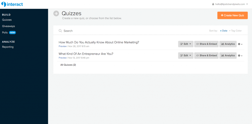 Boost your email list using quizzes