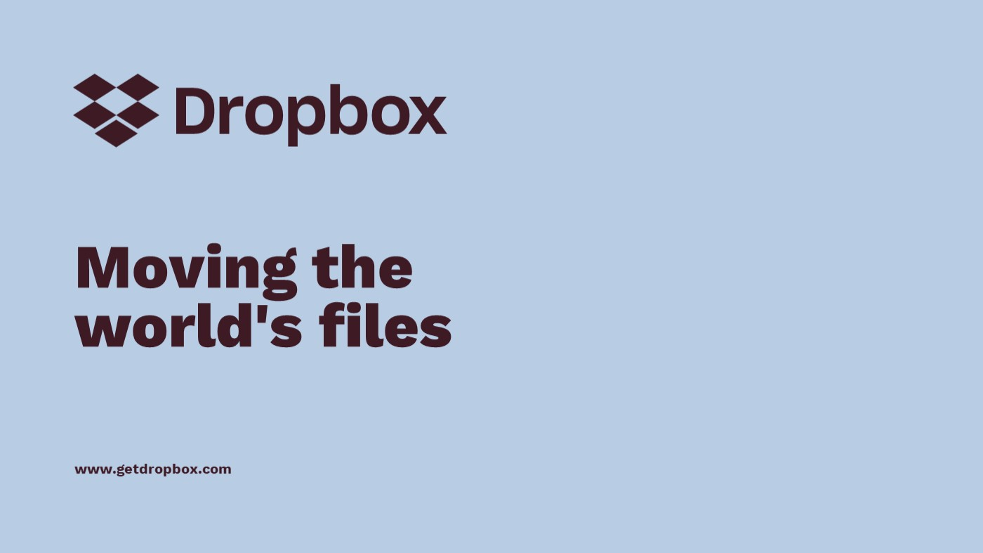 Dropbox pitch deck template by Mad Creative Beanstalk.