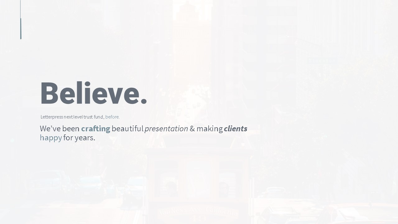 Believe pitch deck template by Mad Creative Beanstalk.