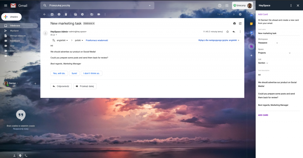 HeySpace Gmail integration