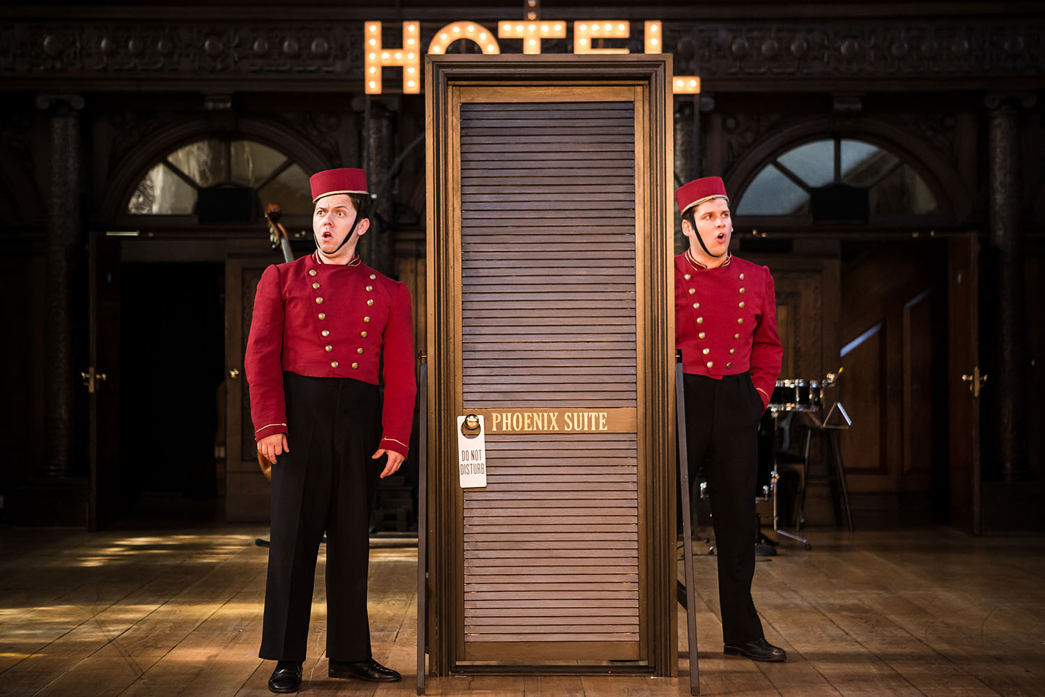 Keith Higinbotham and Andrew Venning (the Dromio twins) in Antic Disposition's The Comedy of Errors (2016)