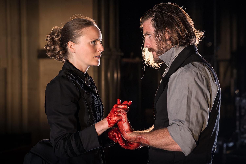 Helen Millar (Lady Macbeth) and Harry Anton (Macbeth) in Antic Disposition's Macbeth (2019)