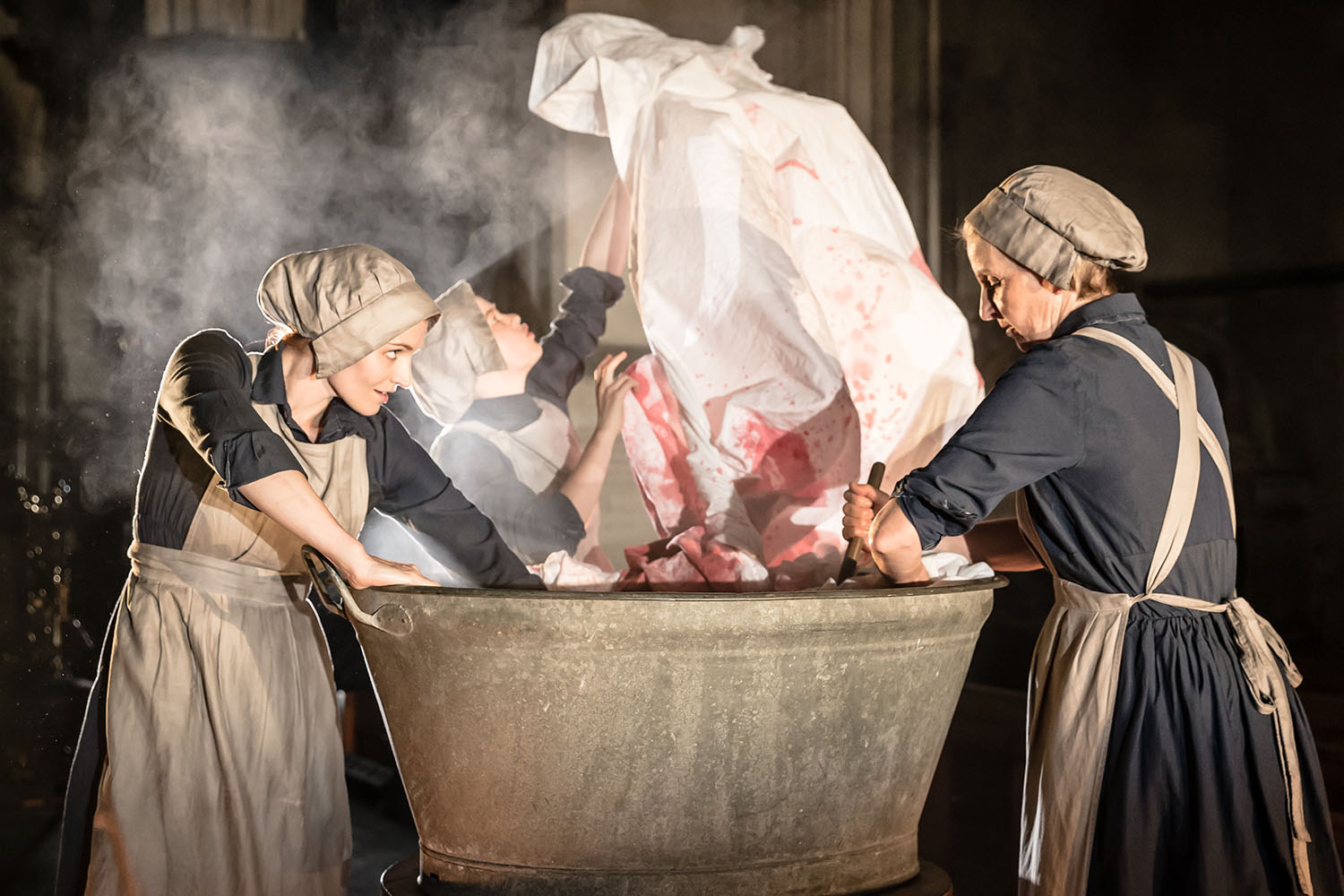 Bryony Tebbutt, Robyn Holdaway and Louise Templeton (Witches) in Antic Disposition's Macbeth (2019)