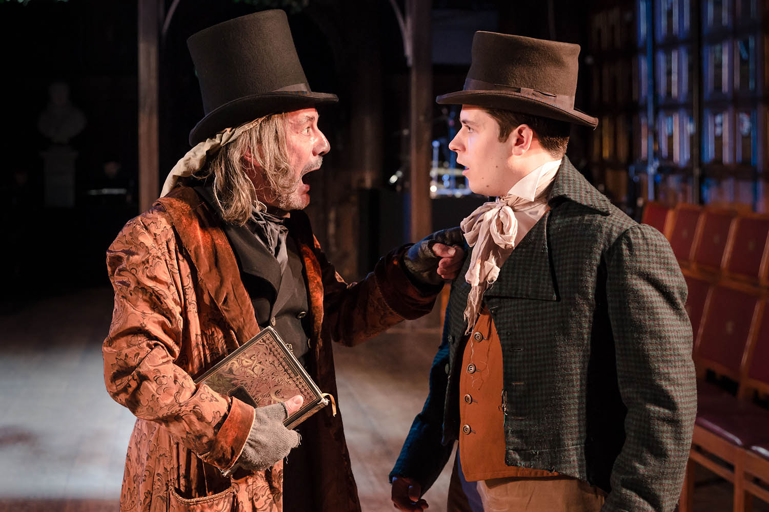 David Burt (Scrooge) and Matt Whipps in Antic Disposition's A Christmas Carol, Middle Temple Hall