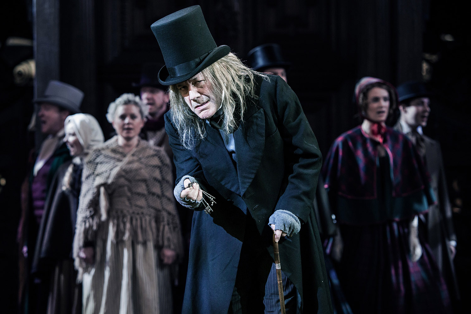 David Burt (Scrooge) in Antic Disposition's A Christmas Carol, Middle Temple Hall