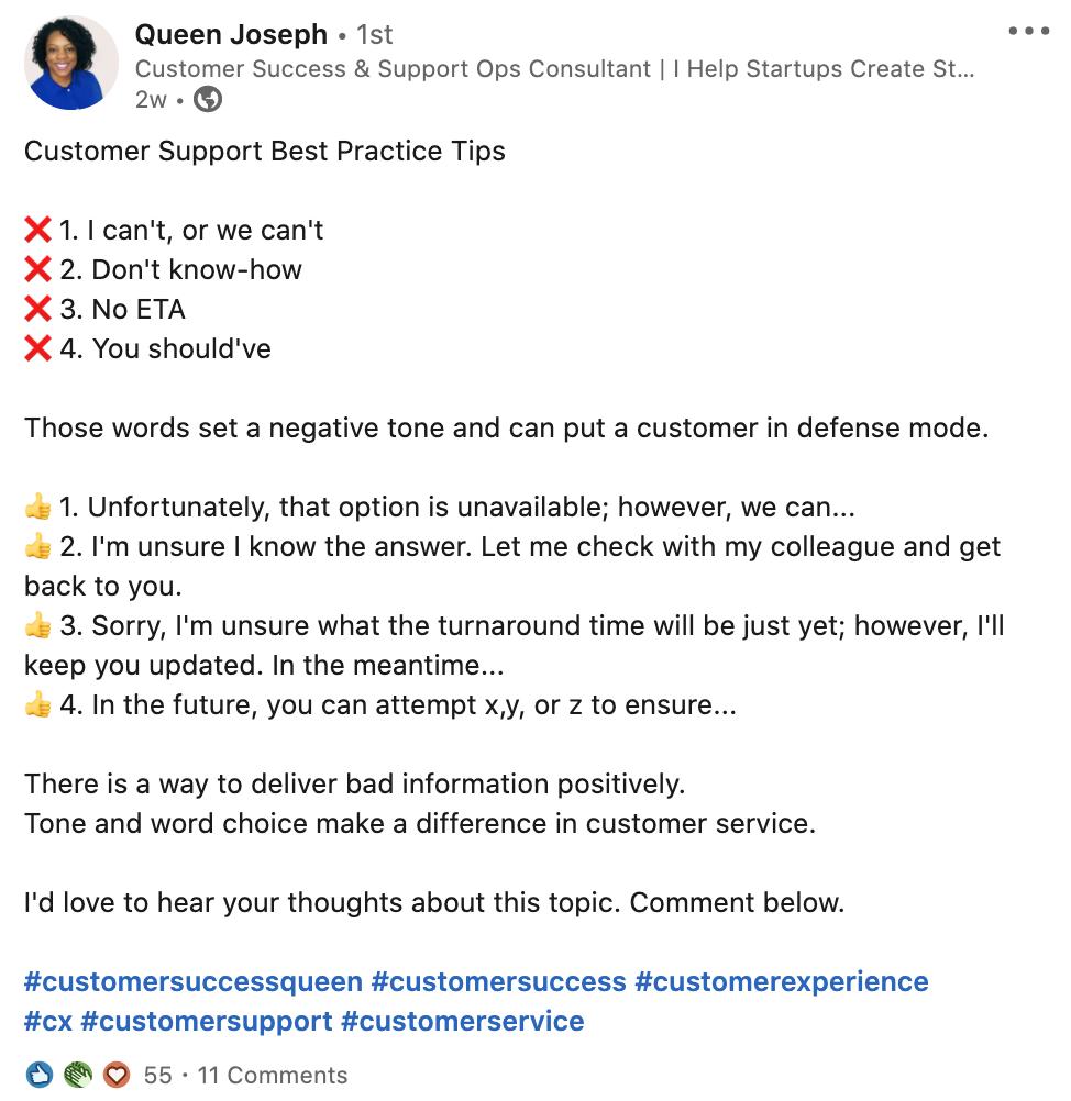 Queen Joseph LinkedIn post