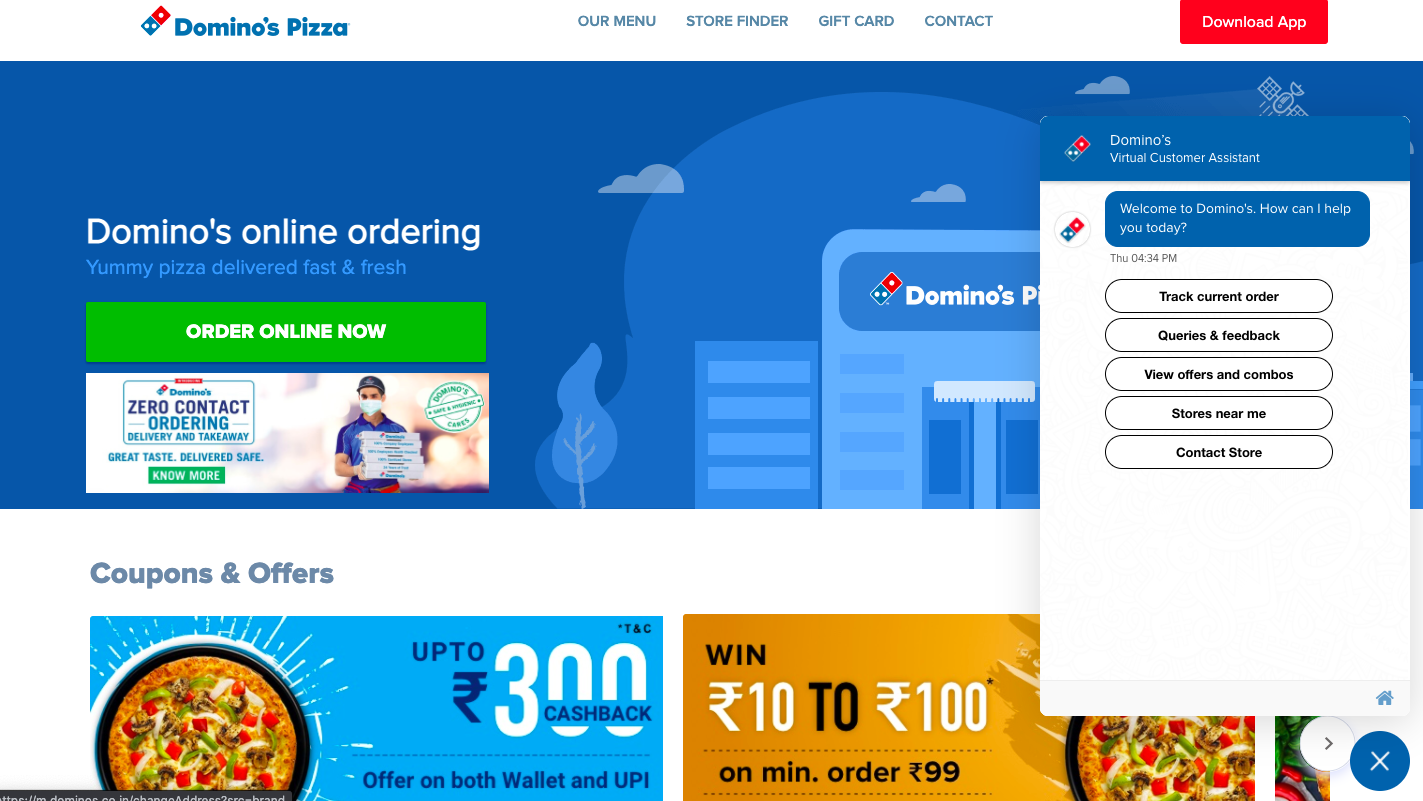 Domino pizza Screenshot