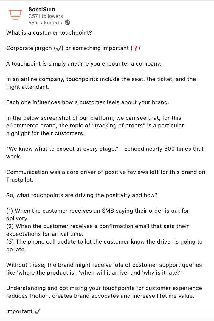 SentiSum LinkedIn post about touchpoints
