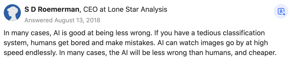 Quora screenshot of 'what is AI good at?'