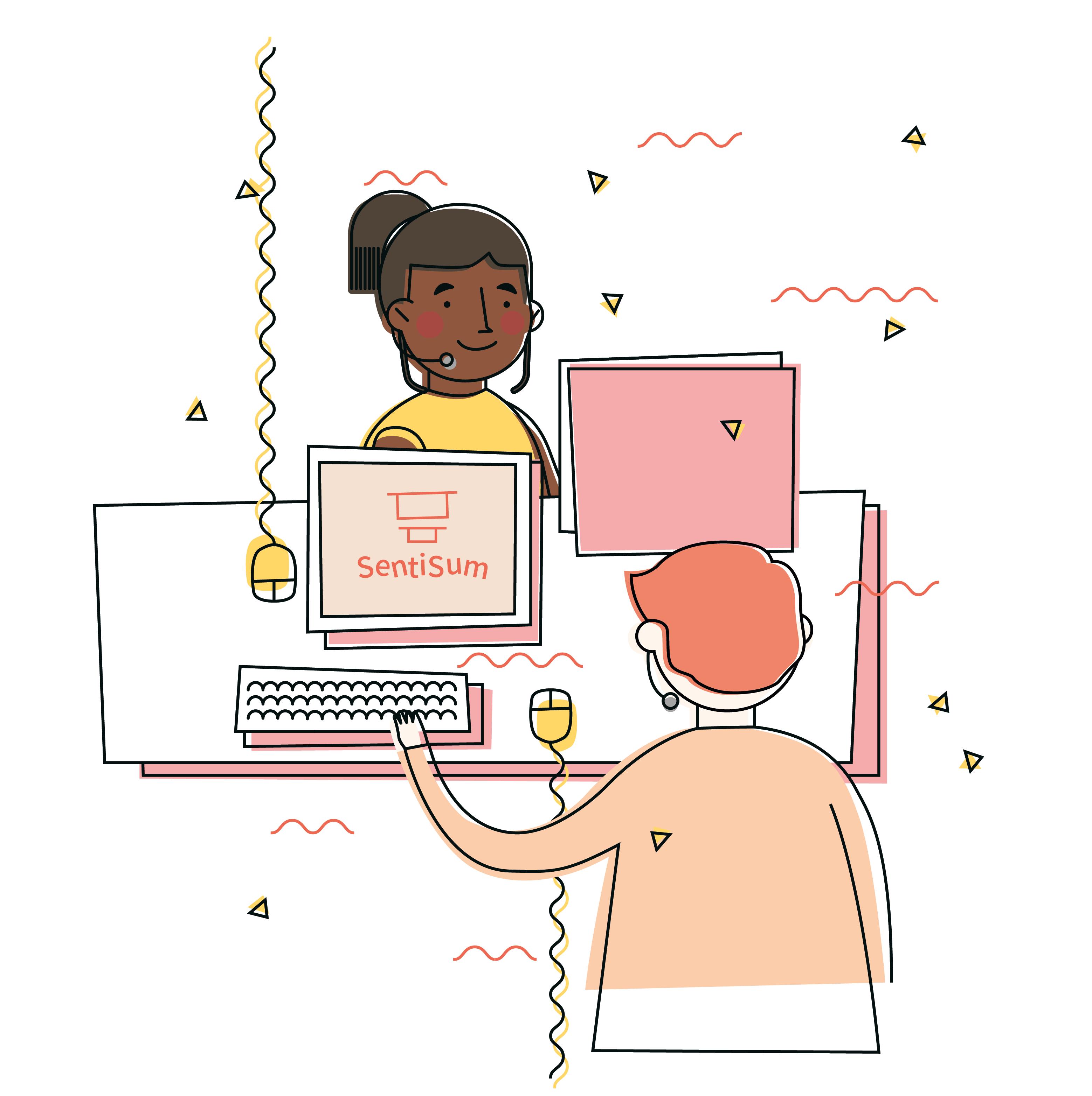 Cartoon customer service image