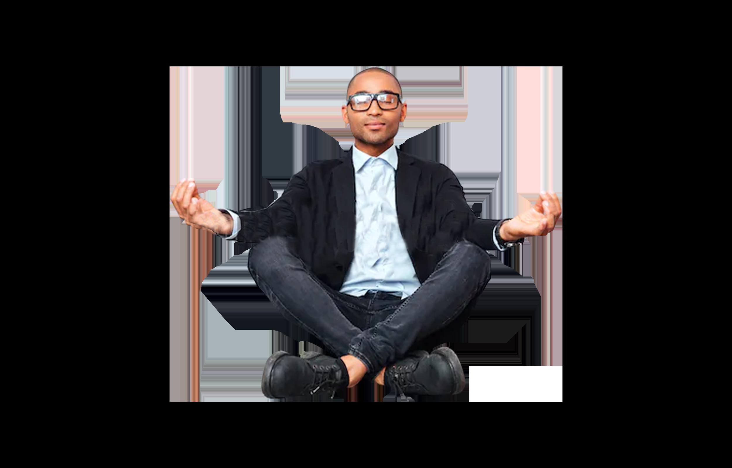 Man feeling zen at work