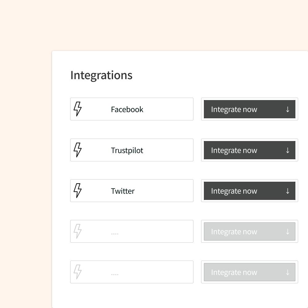 Integration social monitoring tools Facebook, Twitter