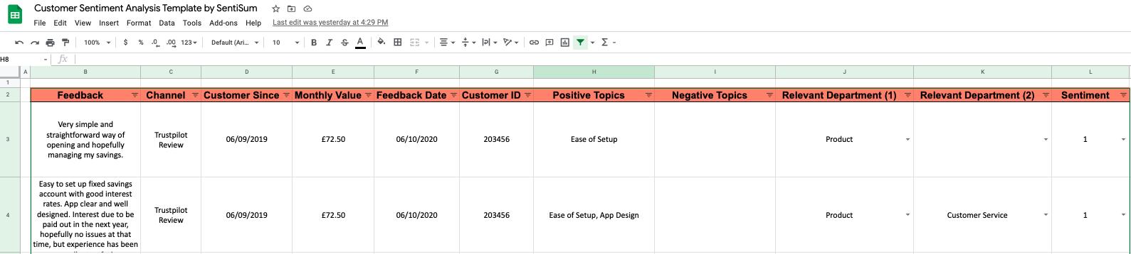 Customer sentiment analysis template