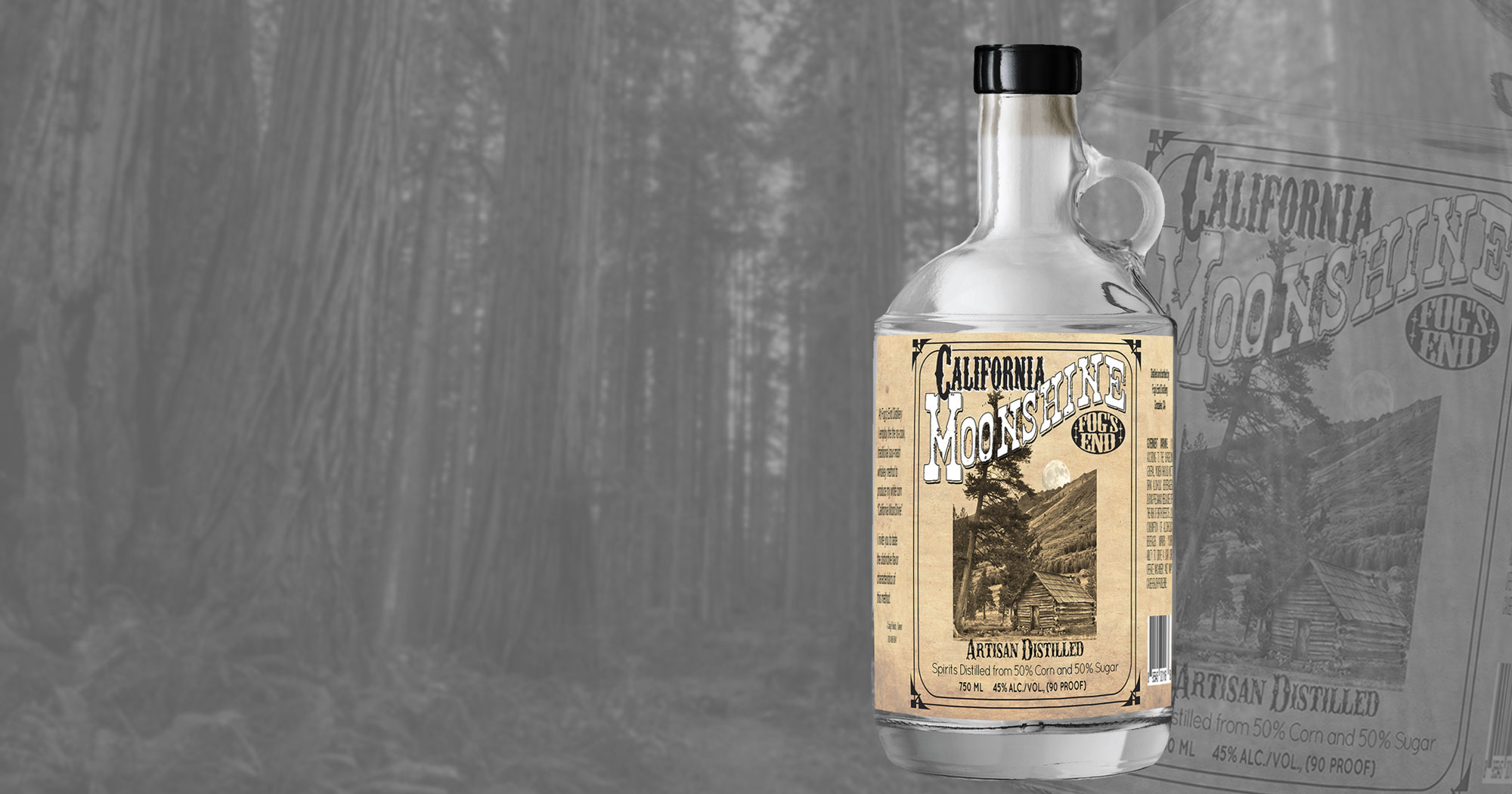 California Moonshine with the woods in the background