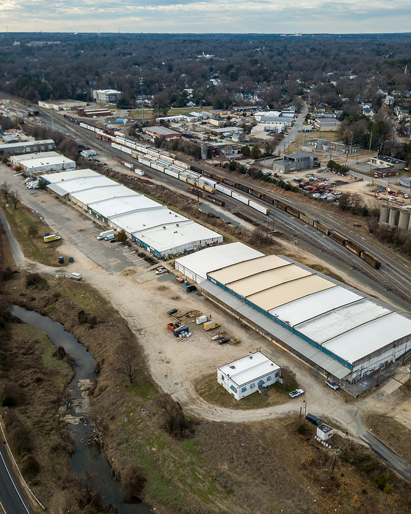 Aerial photo of Raleigh Bonded Warehouse