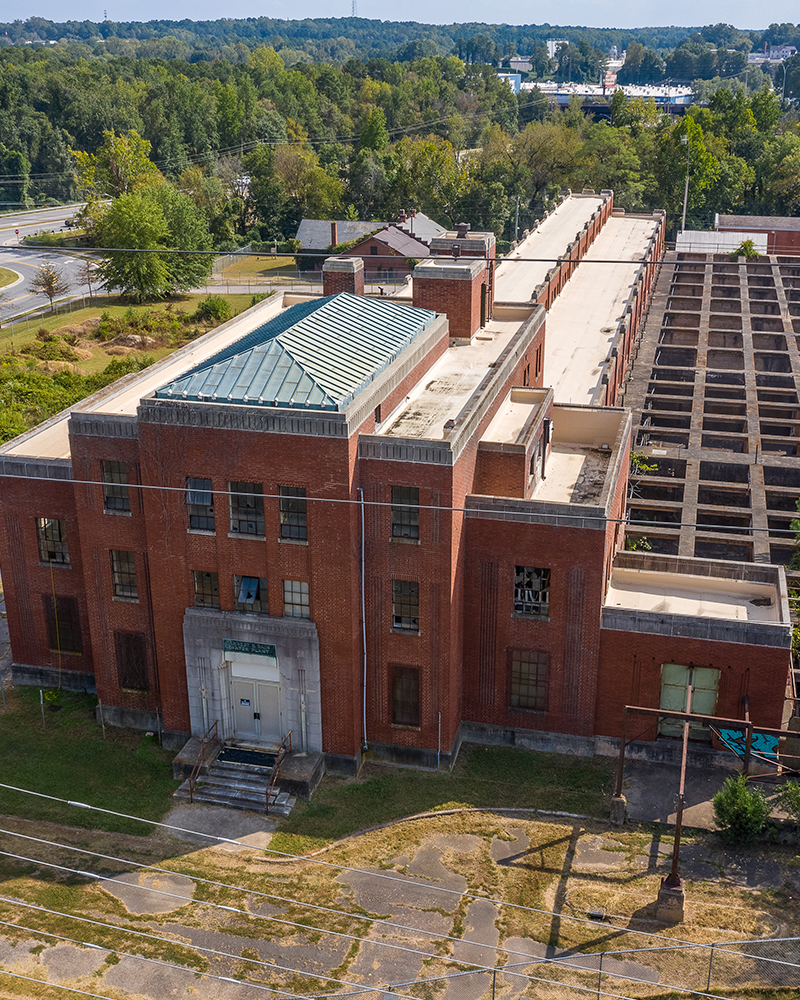 Aerial photo of the Bain Water Treatment Plant in Raleigh NC