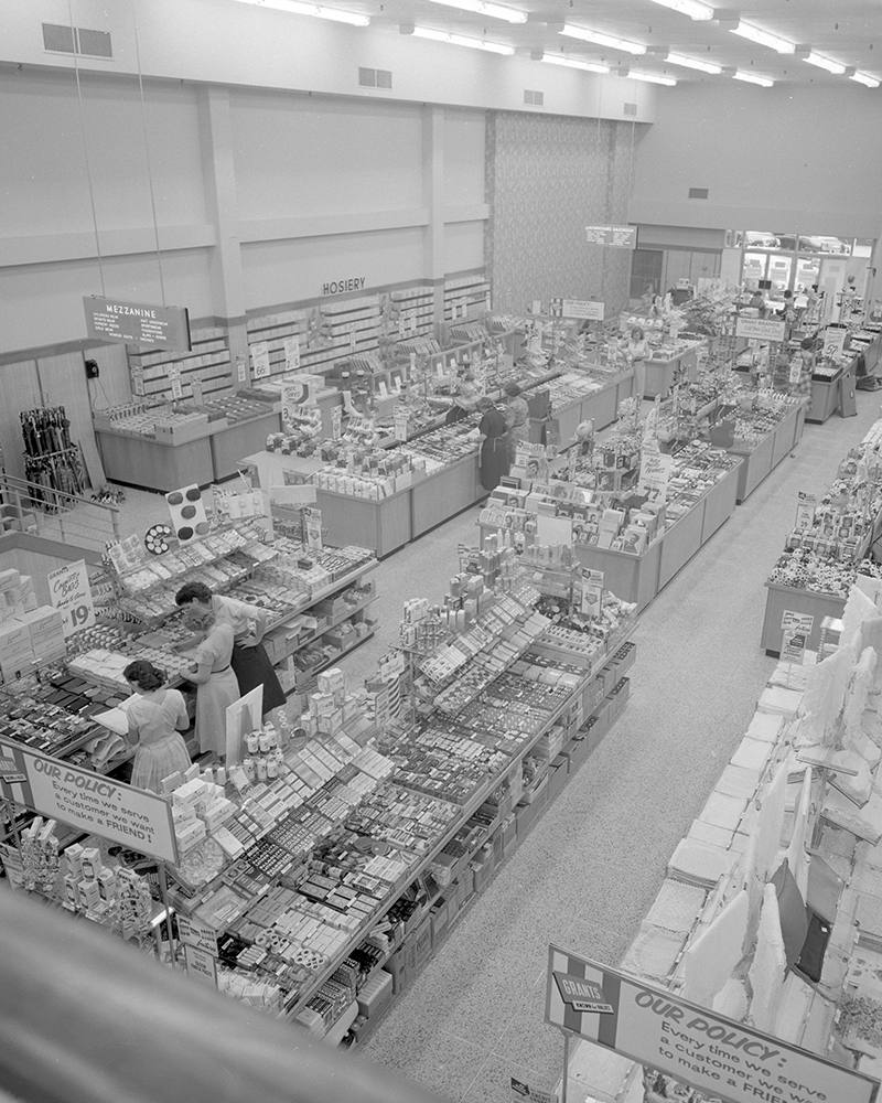 old photo of the interior of WT Grant Department Store