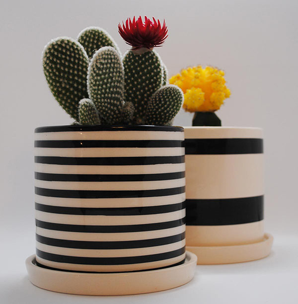 2 modern striped planter pots