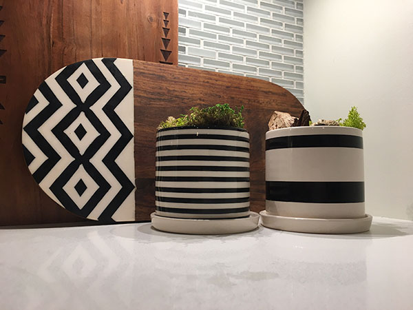 modern striped plant pots in kitchen