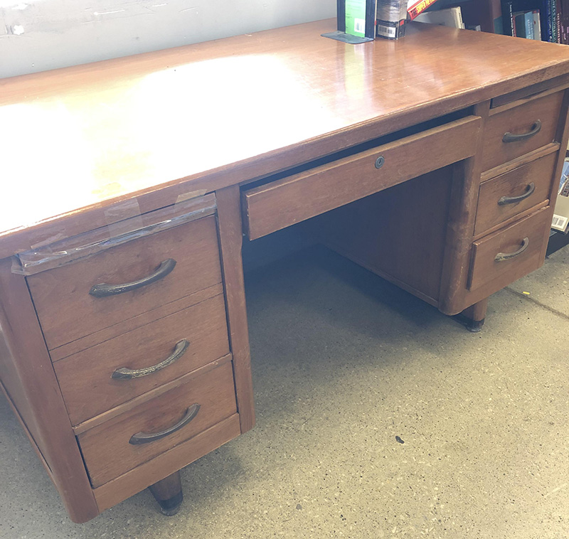 thrift store wood desk
