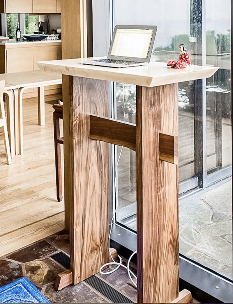 Tall Wood Stand Up Desk