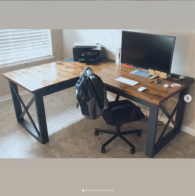 L shaped wood home office desk