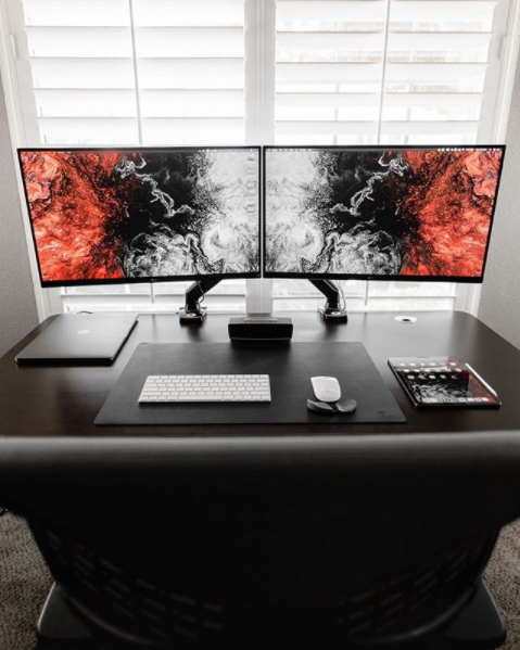 dual monitor arms office desk setup