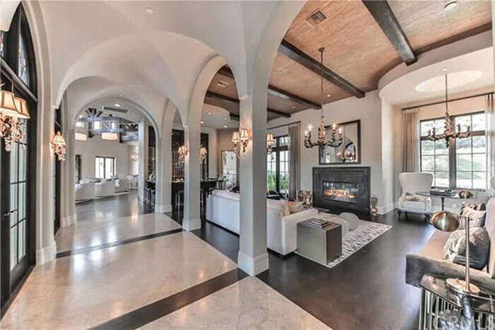luxury living room curved ceilings