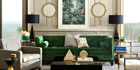 velvet lampert sofa in luxury living room
