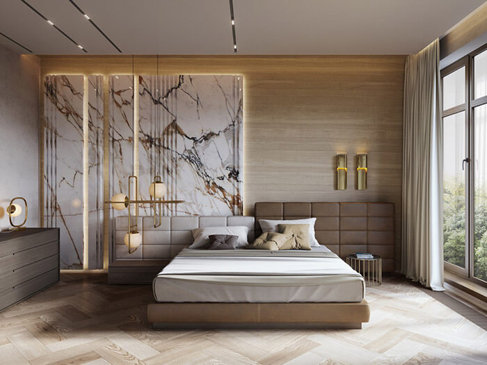luxury white marble and wood bedroom design
