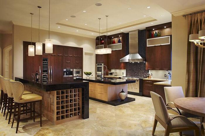 luxury wood tones in kitchen