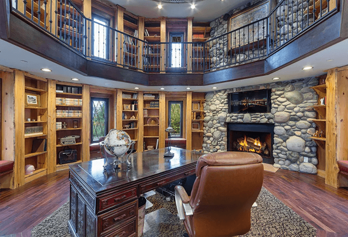 luxury office with fireplace
