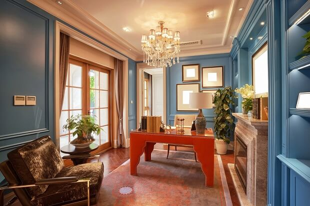 luxury blue paneling in home office