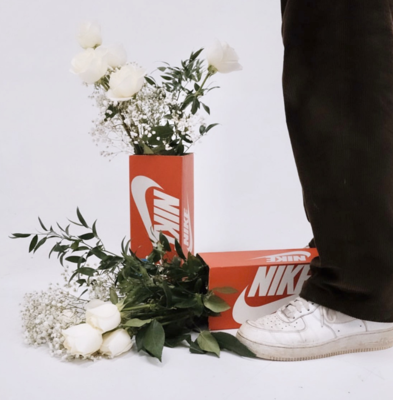 CI - Hydroflora: Nike shoes with 2 flower boxes.