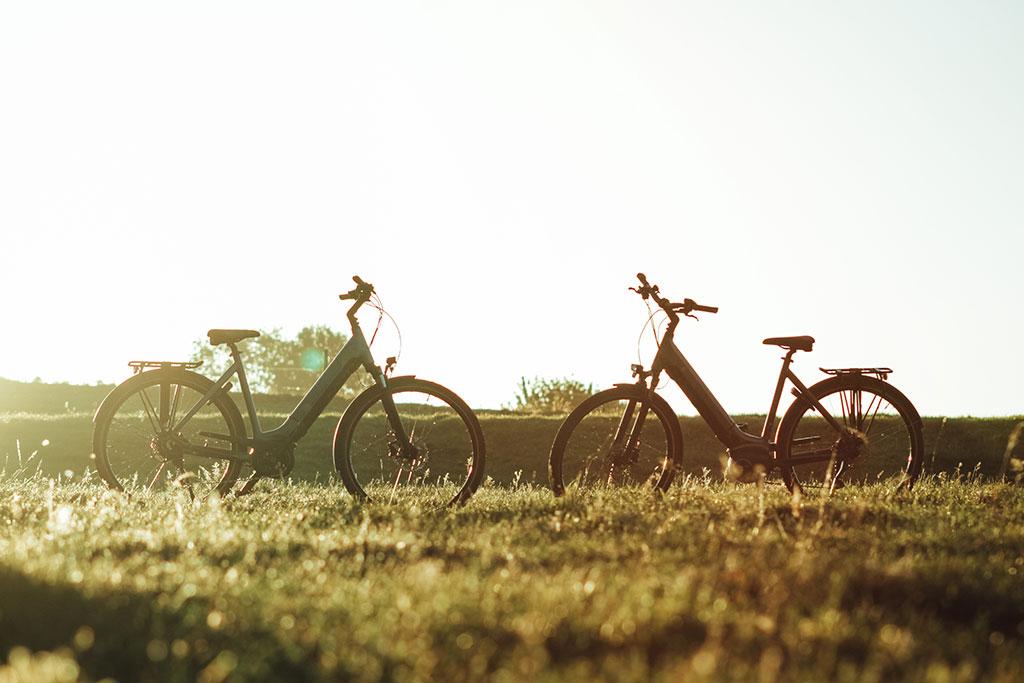 Contact. Twee e bikes in een wei