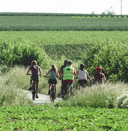 Een groep e bike fietsers