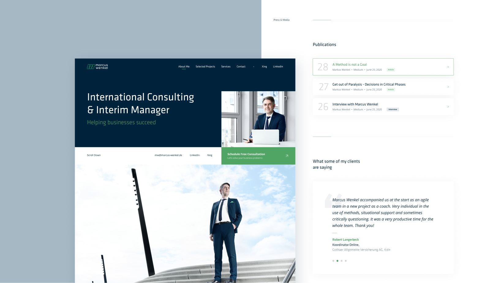 Marcus Wenkel UI/UX design of his new website