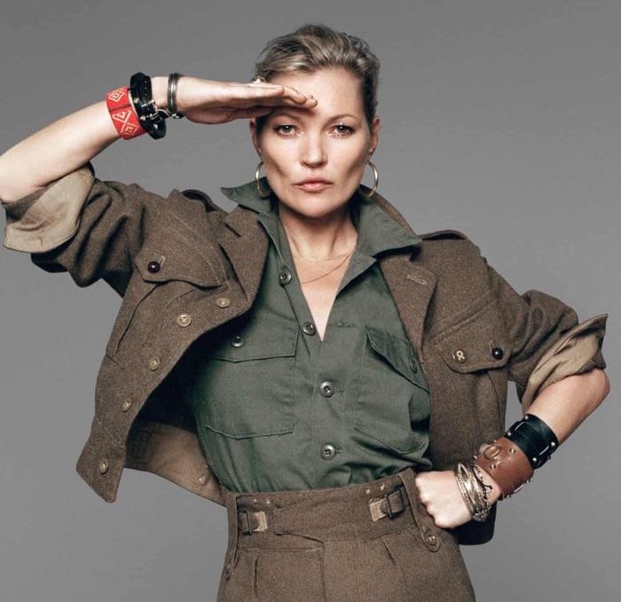 Kate Moss wearing a brown Jaeger jacket