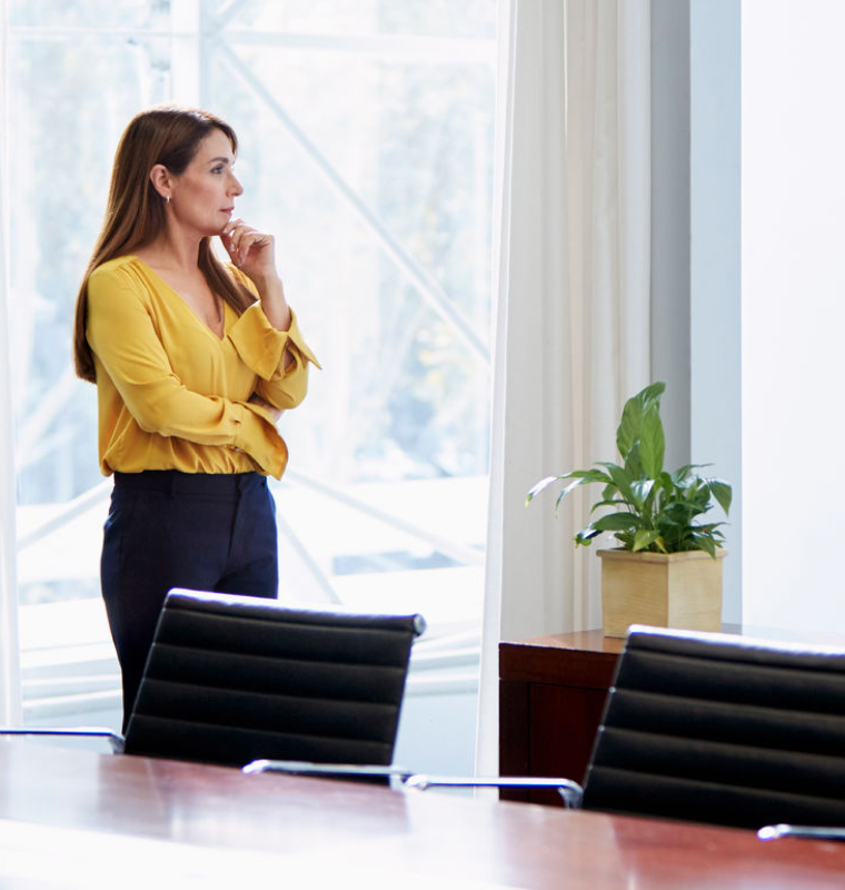 woman standing in conference room