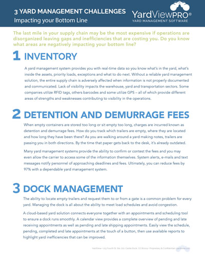 3 Yard Management Challenges Impacting your Bottom Line