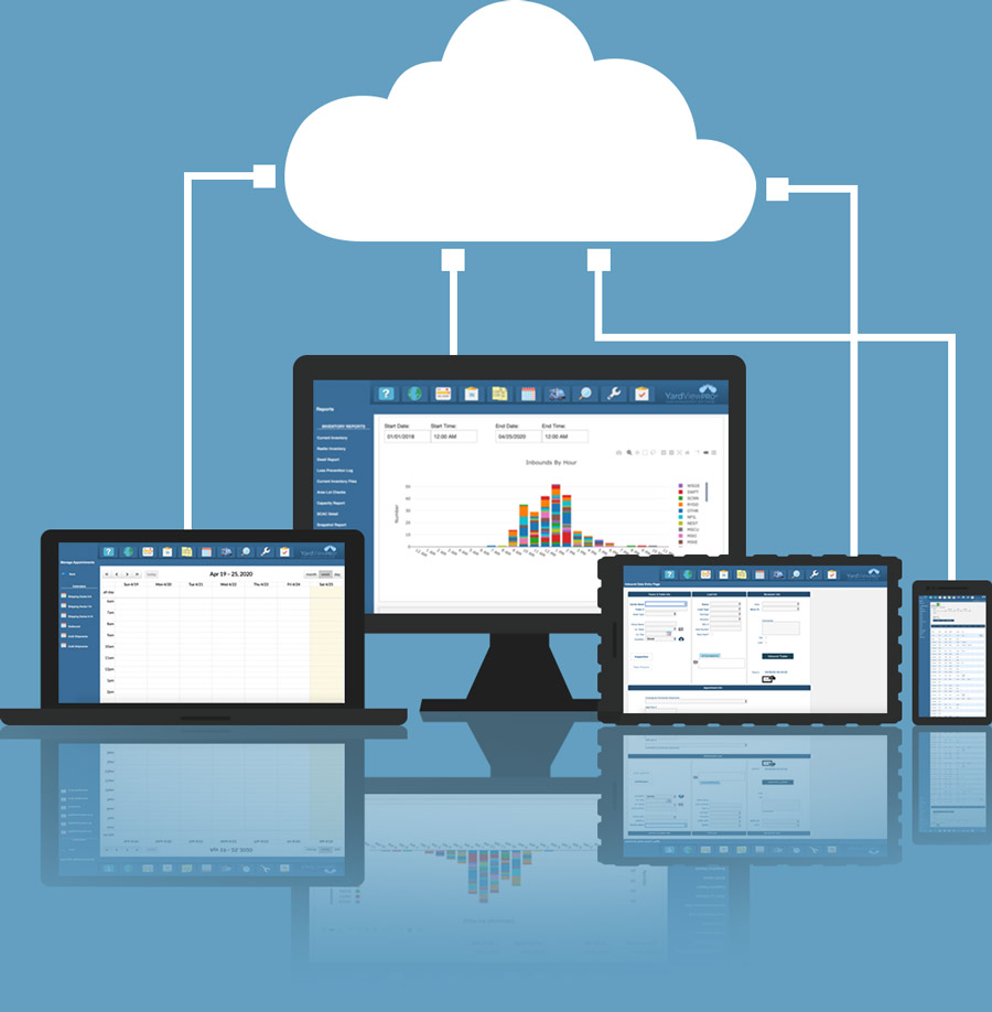 A cloud image attached to multiple types of devices.