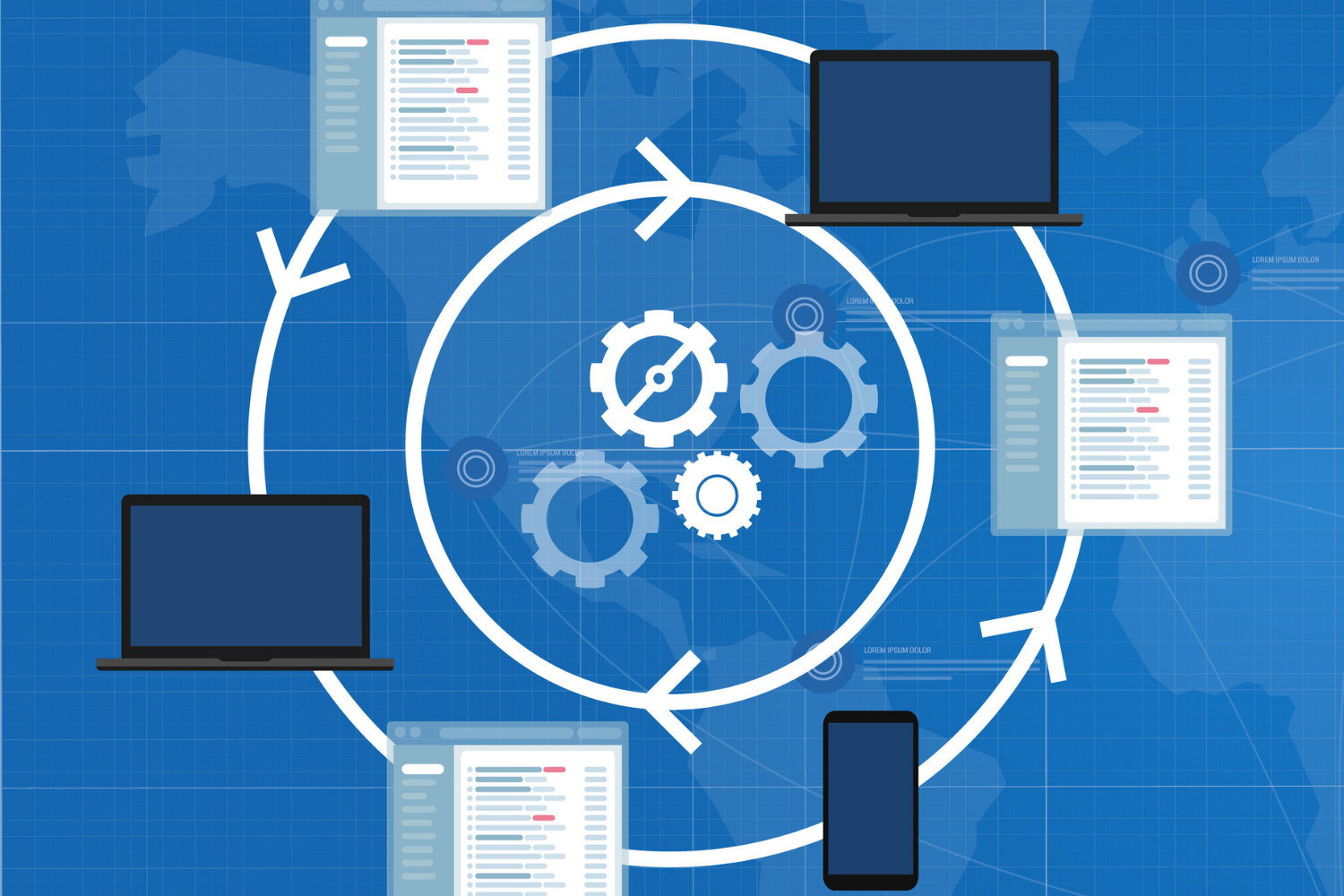 An illustration of multiple revolving arrows in a circle with gears turning in the middle around multiple devices and applications signifying sotware integration complexity